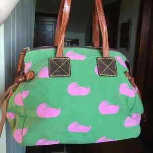 Dooney & Bourke duck pink green canvas